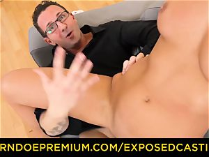 unveiled audition steaming minx with glasses plowed rock-hard