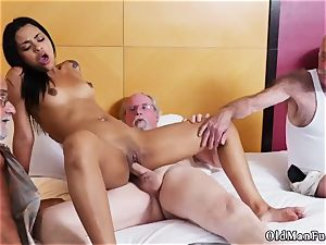 Jane smashed by senior man adult cinema Staycation with a mexican hotty