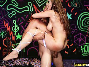 Neon lights on painted coochie ravaged honey Lena Paul
