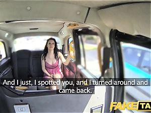 fake cab soaking moist internal ejaculation for steamy brunette