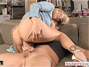 platinum-blonde Julia Ann gets pulverized and facialized