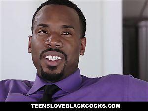 TLBC - black-haired nubile pummels boss For elevate