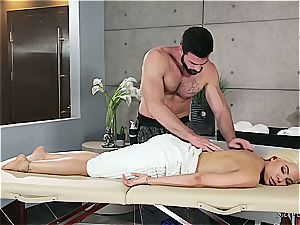 Married blond sweetie getting insatiable by a muscled masseuse