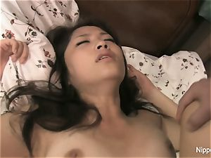 asian student gets pounded on the bed