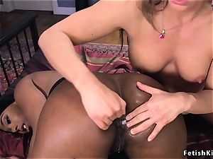 thick bootie dark-hued gets arse filled with juices