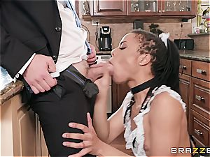 super-hot dark-hued maid nearly get caught