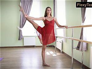 insane gymnast Inessa in a crimson sundress