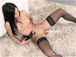 classy honey in beautiful dark-hued pantyhose teasing herself