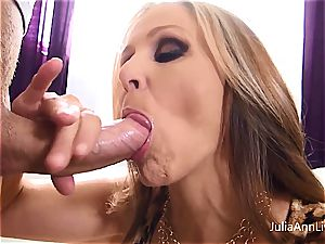 Julia Ann enjoys jizm on her baps
