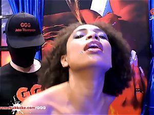 gorgeous dark-hued Latina Luna Corazon bellows in pleasure