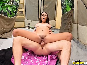 Ashley Adams rails that yam-sized wood of hung JMac