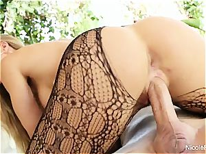 Nicole displays off her warm body then gets a great banging