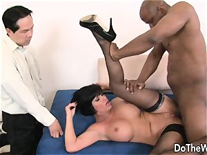 black-haired wifey takes meaty black prick