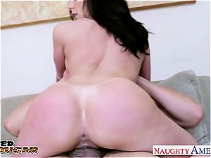 slim black-haired Kendra passion takes his hefty penis inside