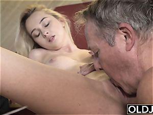 youthful old porno Martha gives grandpa a filthy blow-job