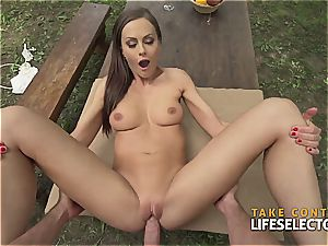 amazingly fit dark-haired sweetie enjoys to get insane in public