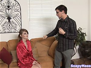Smoking sizzling ginger-haired Faye Reagan gives a soapy rubdown