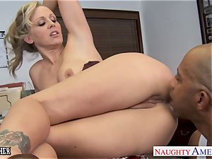blond lecturer Julia Ann poking a big black cock
