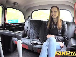 fake cab slender red-haired enjoys raunchy romp