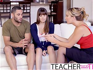 warm educator Tricks college girls Into three-way nail