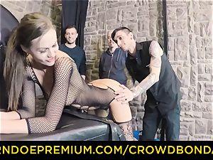 CROWD bondage - extreme sadism & masochism pummel wheel with Tina Kay