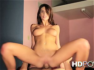 HD point of view red-hot dark-haired with big hooters enjoys to juggle trunk