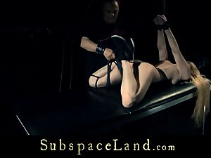 sub lady blond pleasured and punished in submission