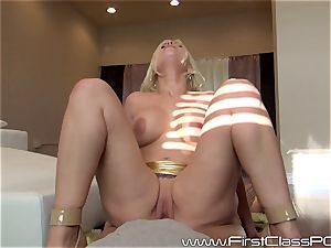 Britney Amber gargling on meaty prick point of view fashion