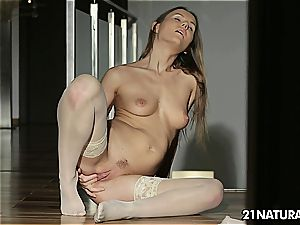 Sabrina fingering herself in thigh high nylons
