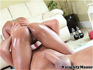 smallish dark-hued girl touches her stud down before a facial cumshot