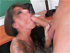 witness a fat dick fellow get his pecker sucked by inked mega-bitch Chayse Evans