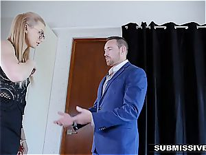 warm blonde plays a bad girl at the office and gets smacked