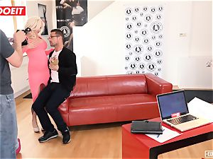 busty ash-blonde bursts all Over The casting couch