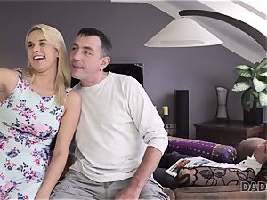 DADDY4K. father and youthful nymph love anal lovemaking near his sleeping son