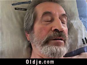 nubile nurse dame Dee drill approach for sick senior patient