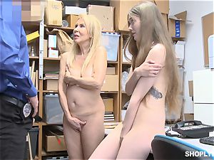 ShopLyfter GILF and nubile porked by security guard