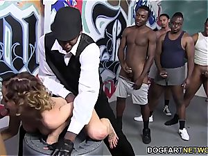 Mae Meyers gets gangbanged with BBC's