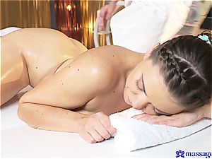 ponytailed beauty screwed by the intense masseur
