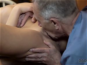 DADDY4K. Angry boy catches elderly father boning his good-looking damsel