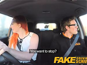 faux Driving college tatted ginger-haired craves a big man sausage