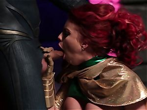 Britney Amber sucks off a insane superhero