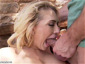 obscene big-chested blondie Kagney Linn Karter gets drilled outdoor