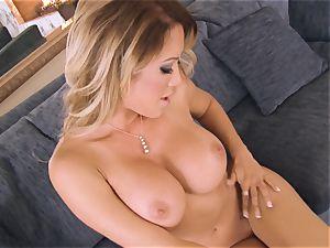 hot Capri Cavanni undresses from undergarments to masturbate