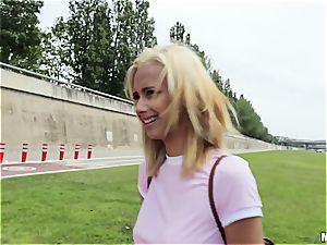 platinum-blonde nubile stunner gets poked outdoors for money