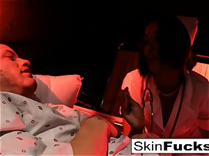 Nurse skin gets rectally plowed by her patient