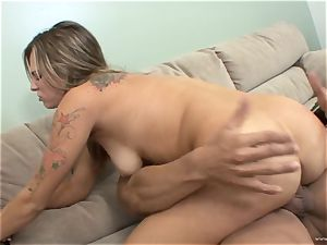 Bailey Blue gets her face plastered with red-hot jism