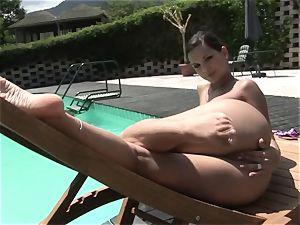super-steamy Eve Angel frigs her throbbing pantie pot