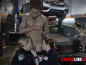 Shop holder is subdued to serve with kinky mummy cops orders