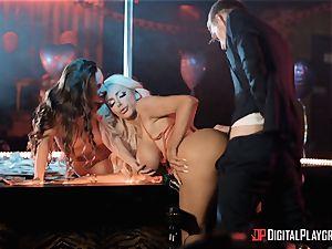 Monster manhood for 2 lusty longing honeys Abigail Mac and Nicolette Shea