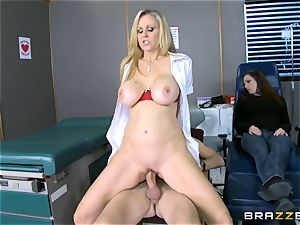 platinum-blonde mummy Julia Ann sucks a enormous pink cigar as his partner sleeps